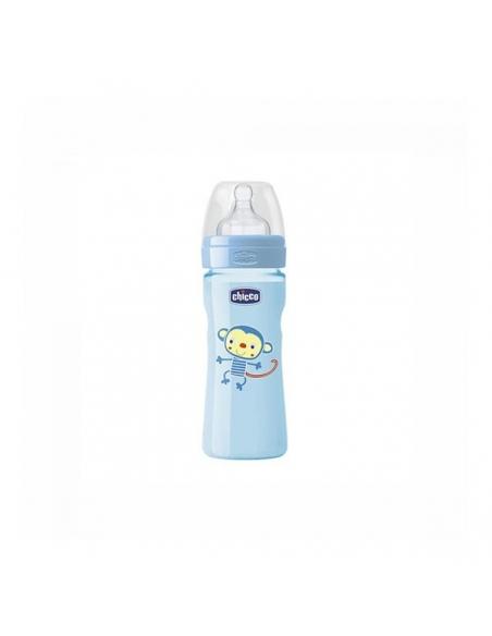 Chicco Biberón Well Latex Azul +2 meses 250ml