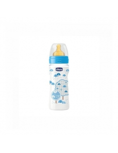 Chicco Biberón Well Latex Azul +4 meses 330ml