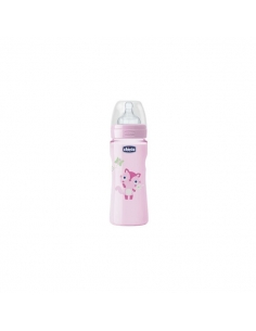 Chicco Biberón Well Silicona Rosa +4 meses 330ml