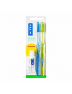 Vitis Cepillo Dental Normal Suave Duplo + Pasta Blanqueadora 15ml